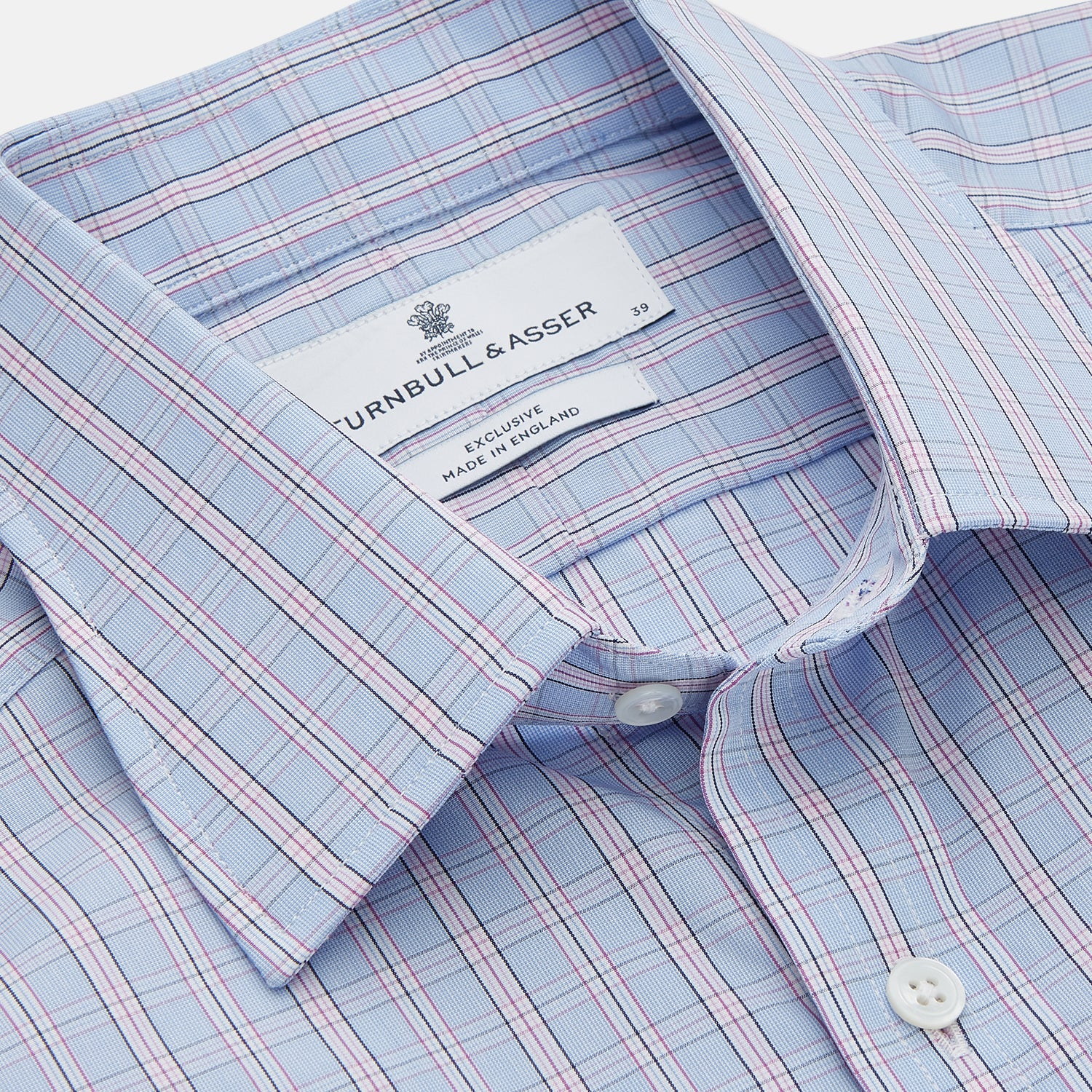 Blue And Pink Check Poplin Cotton Regular Fit Shirt with T&A Collar and 3-Button Cuffs