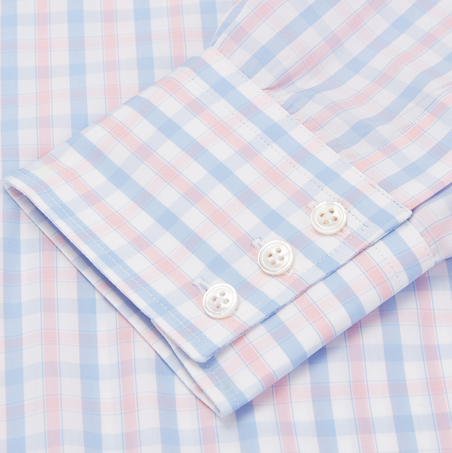 Blue and Pink Check Poplin Shirt with T&A Collar and 3-Button Cuffs