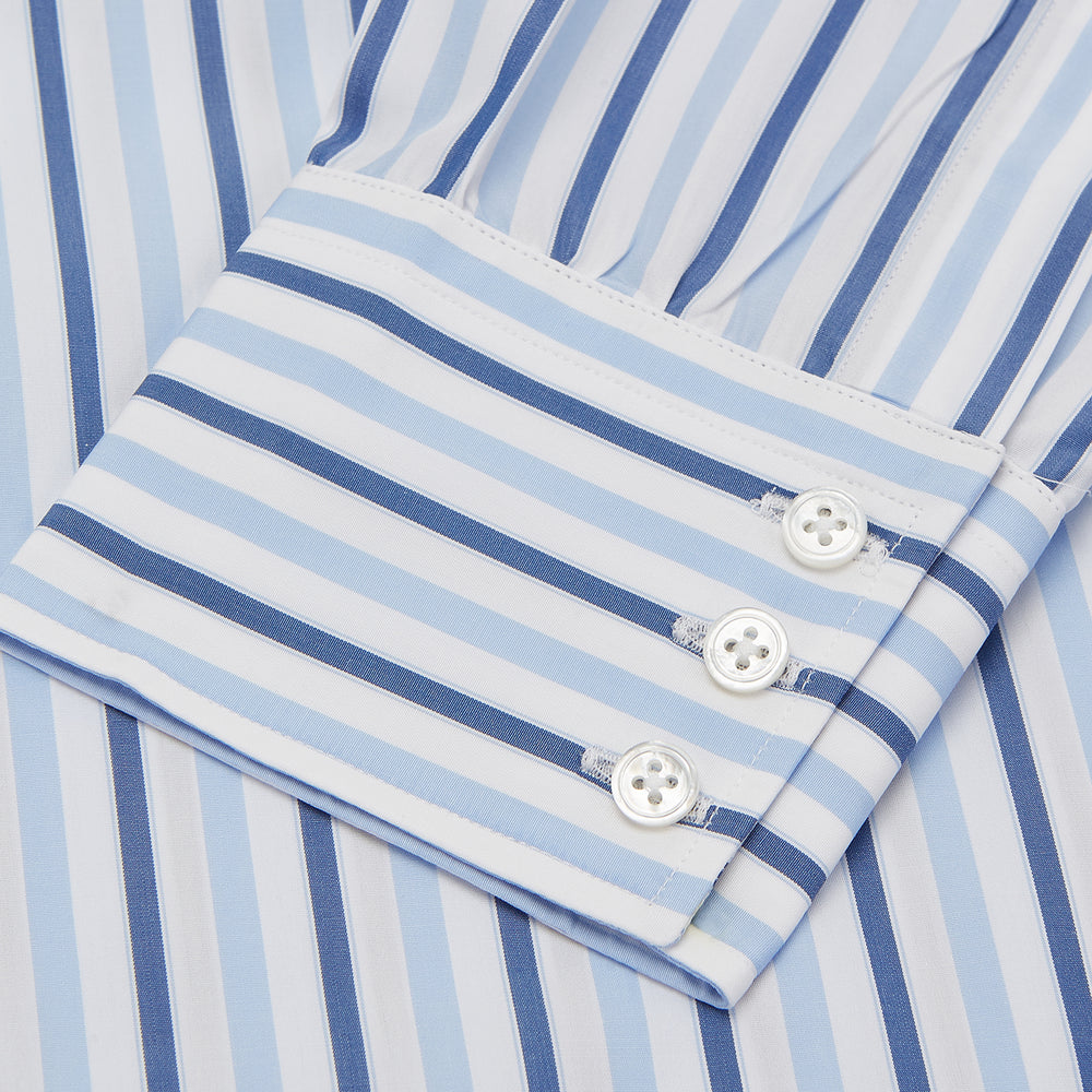 Blue Stripe Poplin Shirt with T&A Collar and 3-Button Cuffs