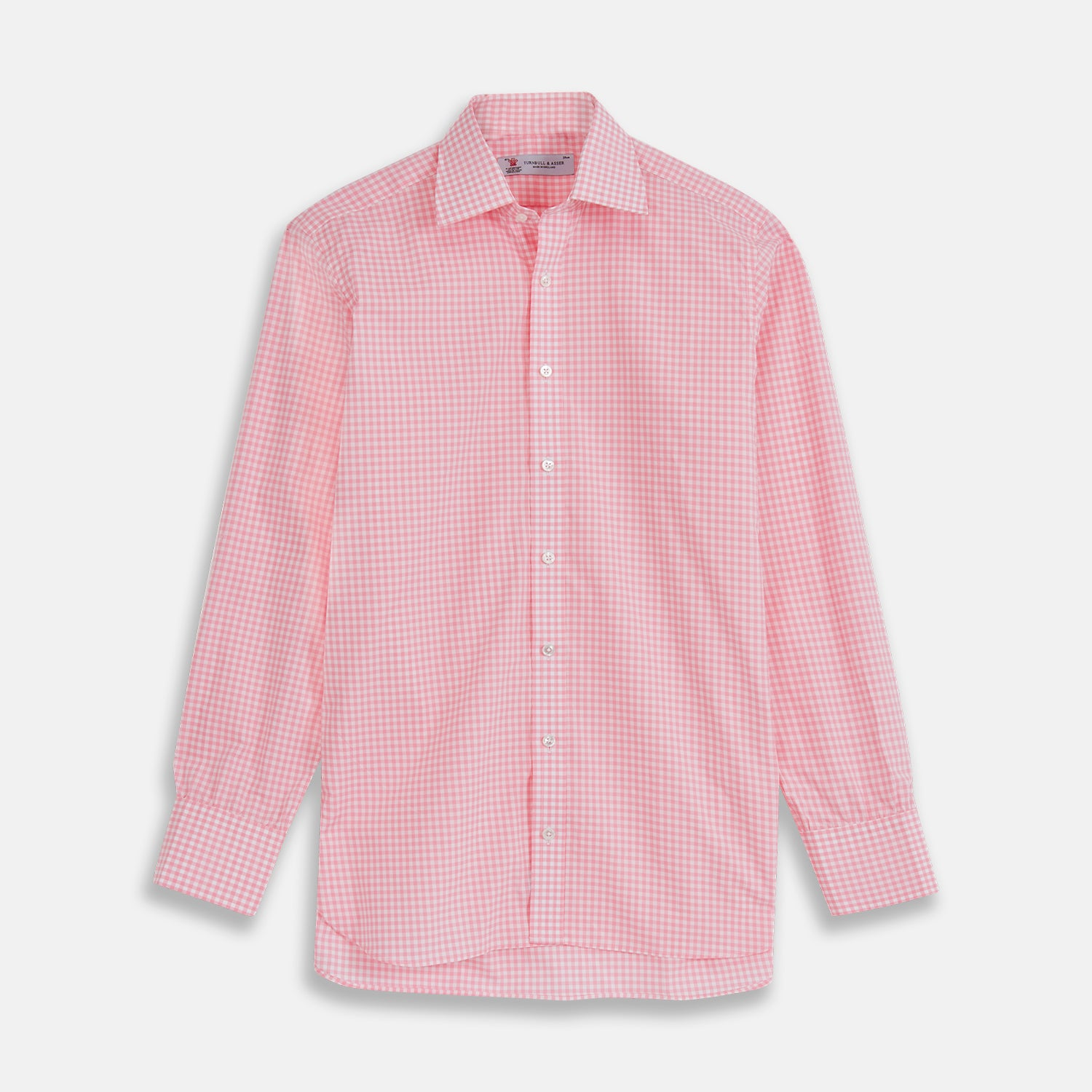 Pink & White Cotton Gingham Check Shirt with T&A Collar and 3-Button Cuffs