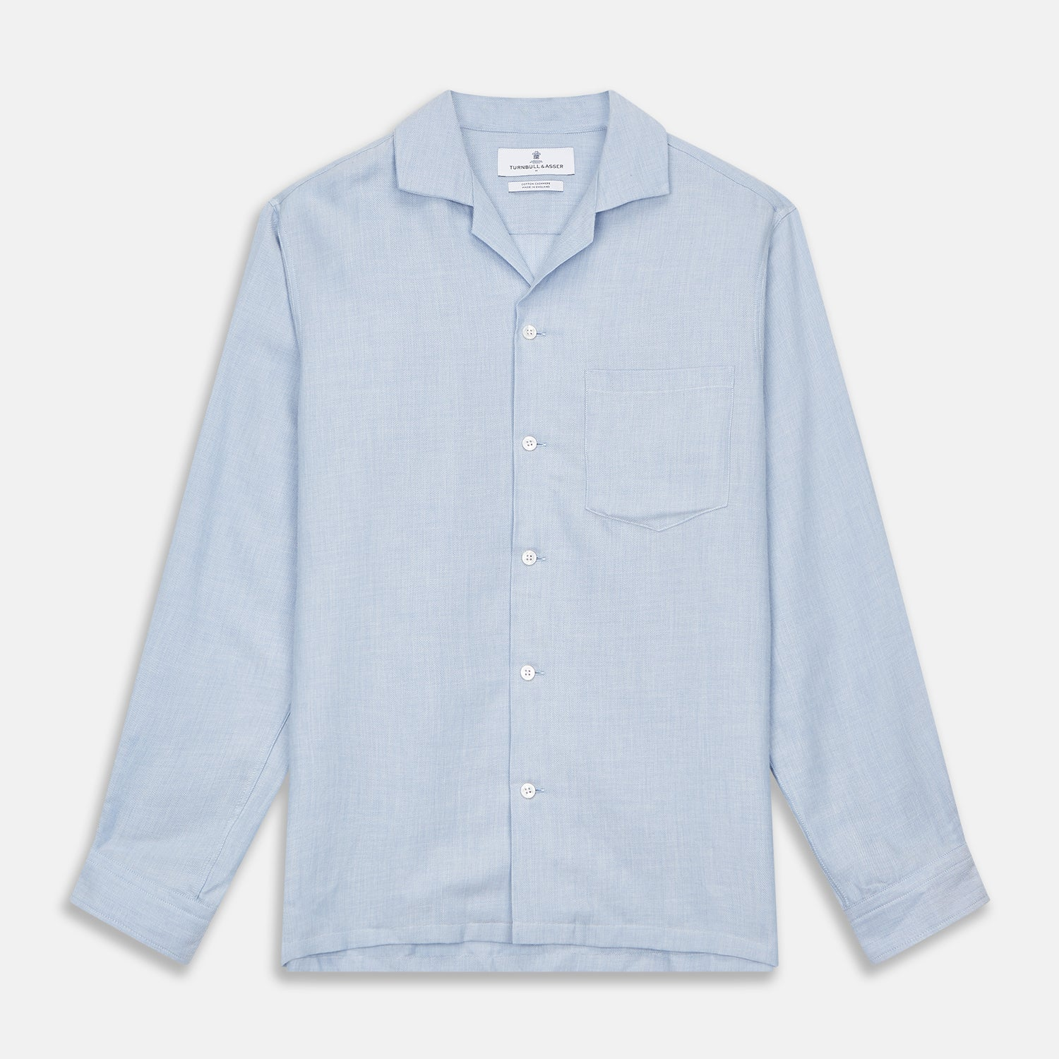 Holiday Fit Blue Cotton and Cashmere Blend Shirt with 1-Button Cuffs