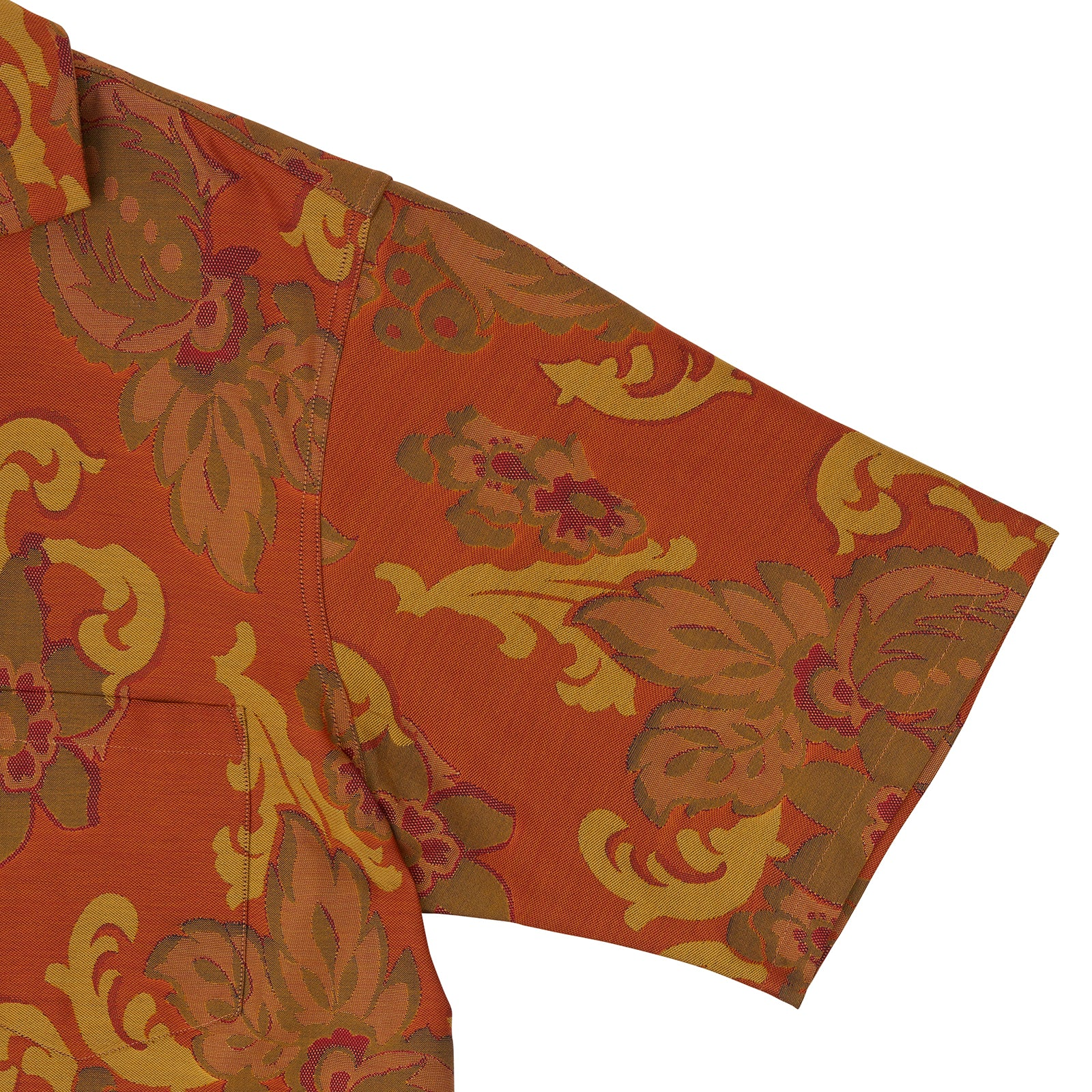 Orange & Ochre Tapestry Weave Cotton Holiday Fit Shirt