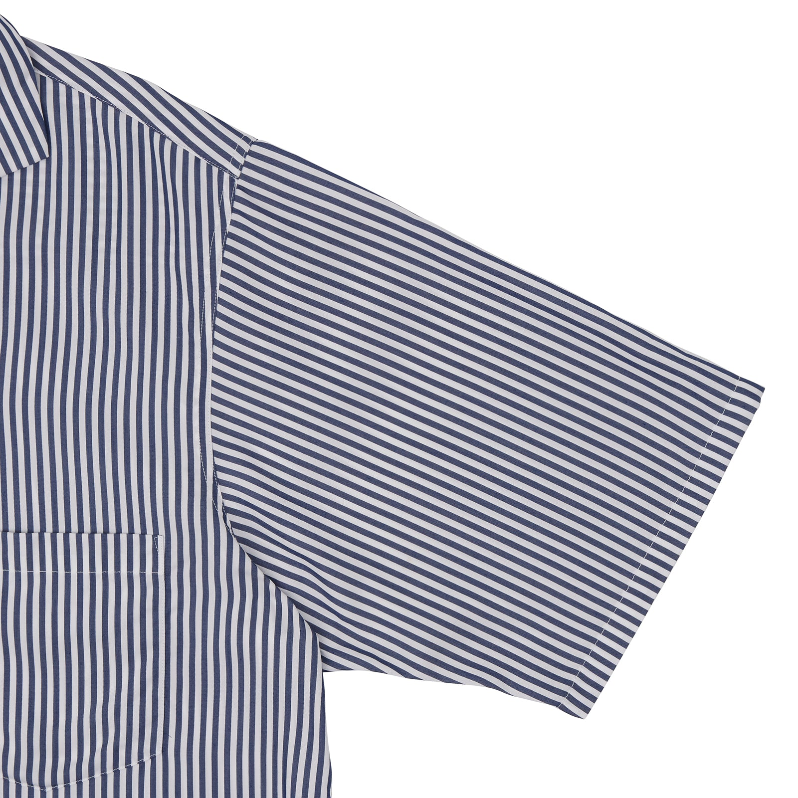 Navy & White Twill Cotton Stripe Holiday Fit Shirt