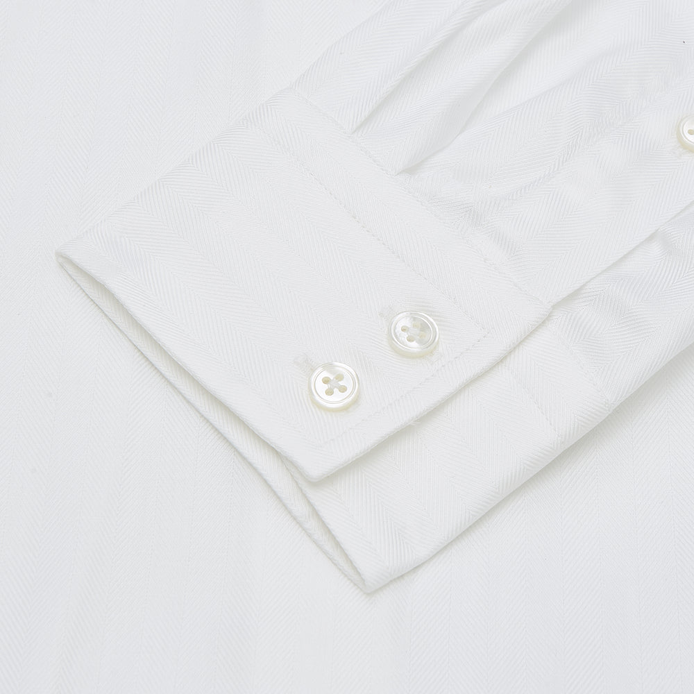 White Herringbone Tailored Fit Cotton Shirt with Long Point Collar and 2-Button Cuff