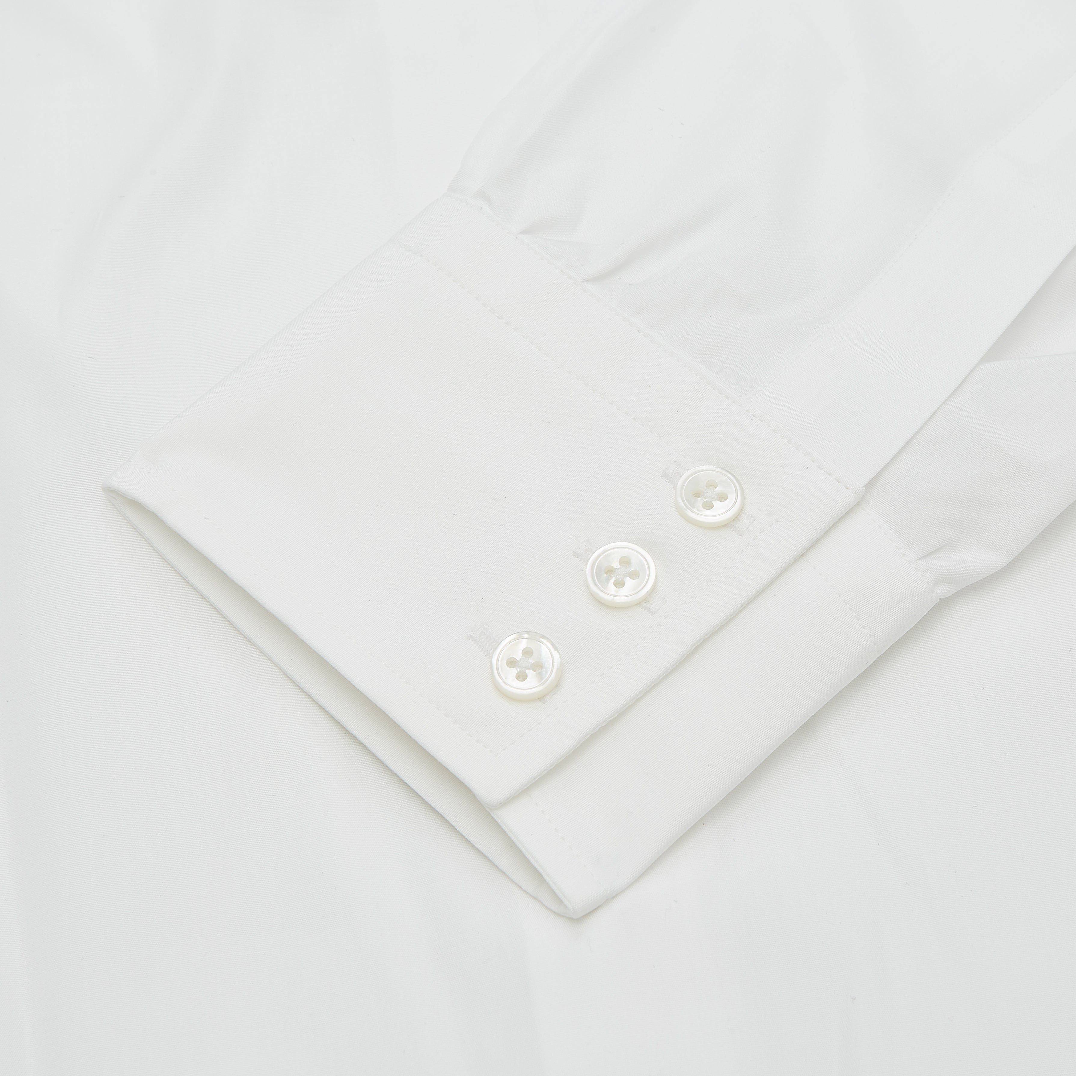 Plain White Regular Fit Cotton Shirt with Round Collar and 3-Button Cuffs