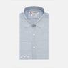 Plain Blue Herringbone Cotton Tailored Fit Shirt with Bury Collar & 3-Button Cuff