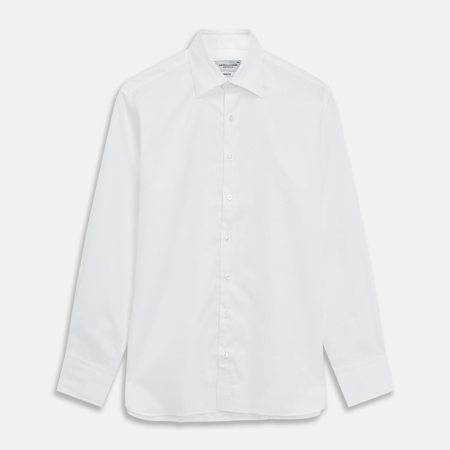 Plain White Oxford Tailored Fit Cotton Shirt with Bury Collar and 3-Button Cuff