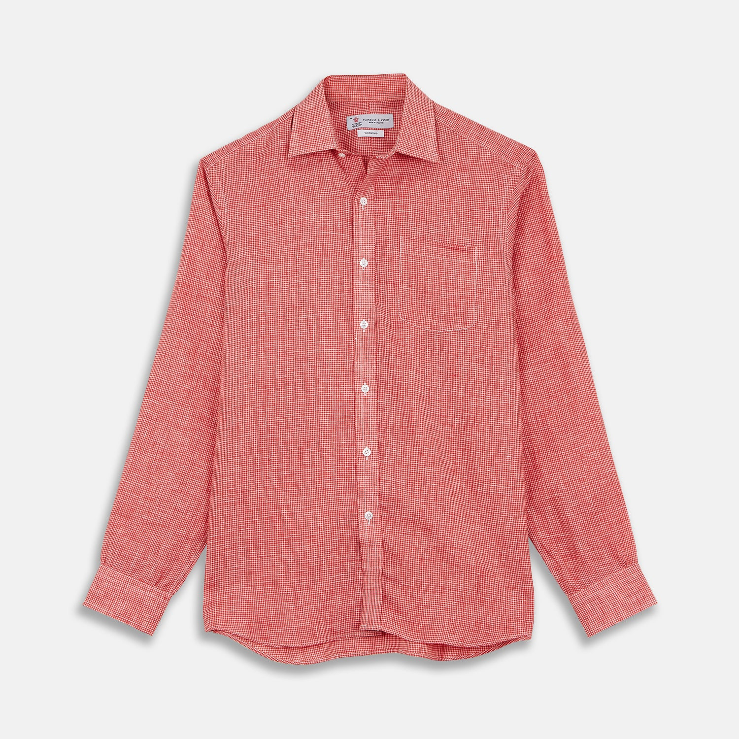 Weekend Fit Red Check Linen Shirt with Derby Collar and 1-Button Cuffs