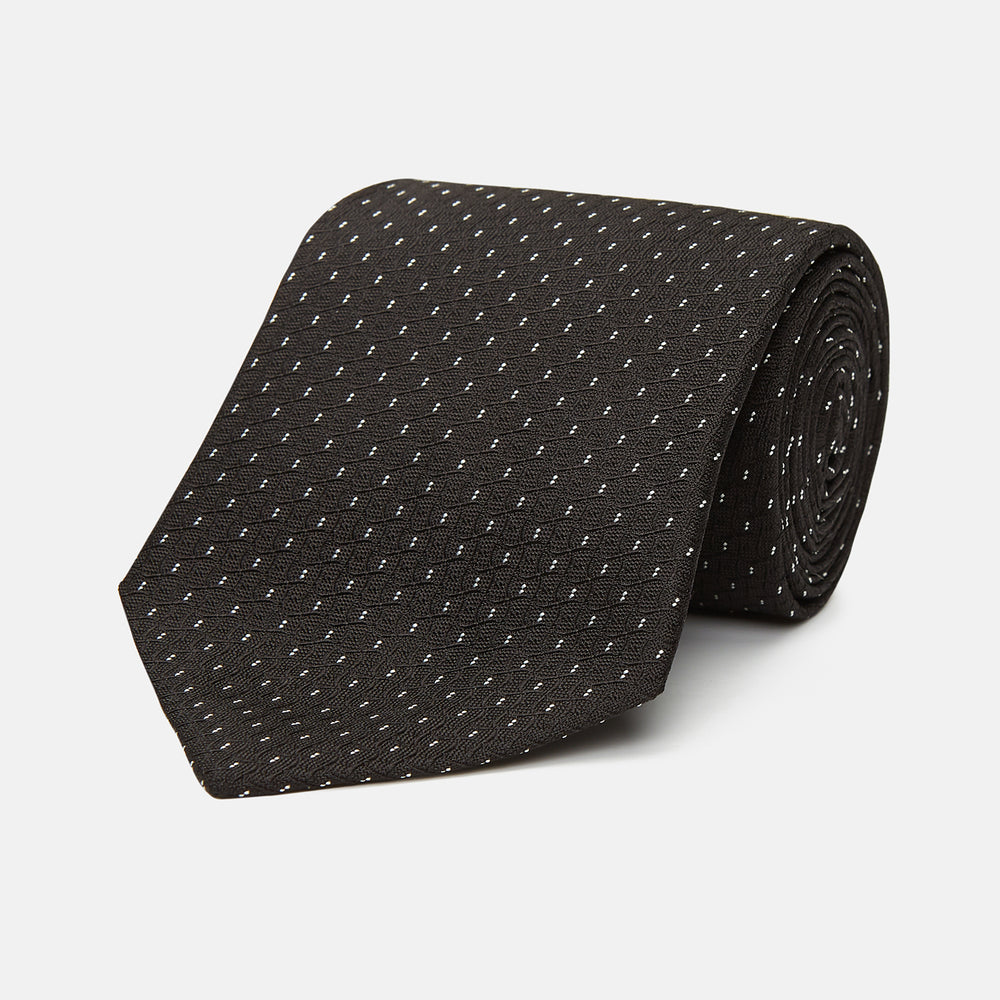 Dark Grey Fine Dash Monochrome Silk Tie