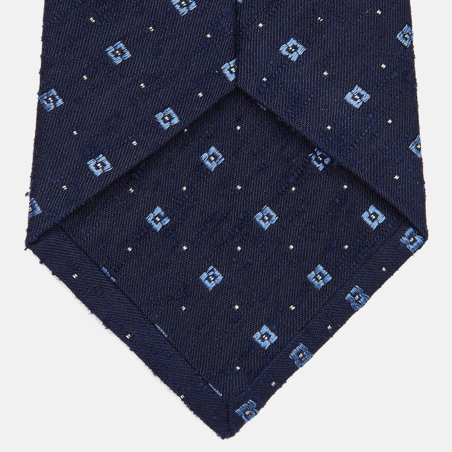 Midnight Blue Square Slub Silk Jacquard Tie