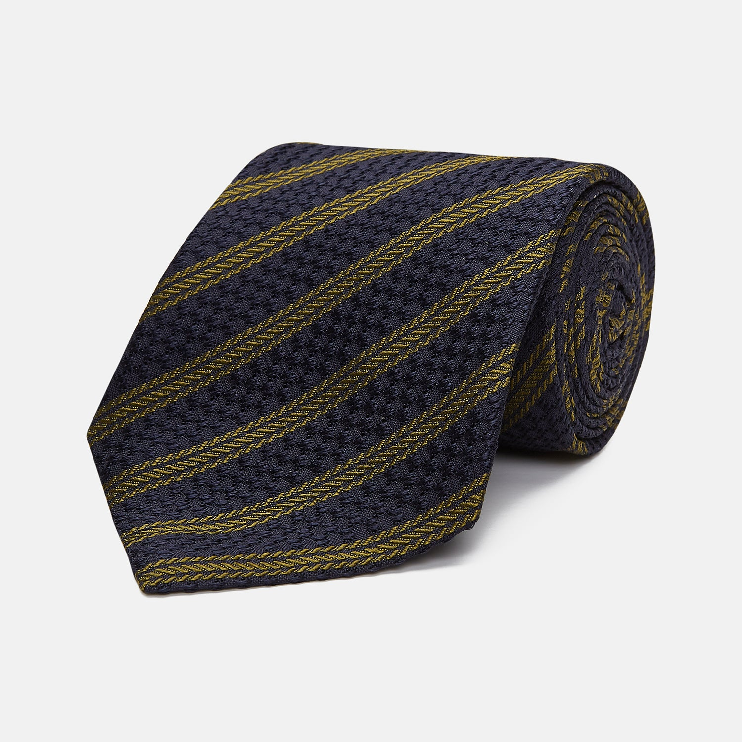 Navy and Olive Lace Stripe Silk Tie