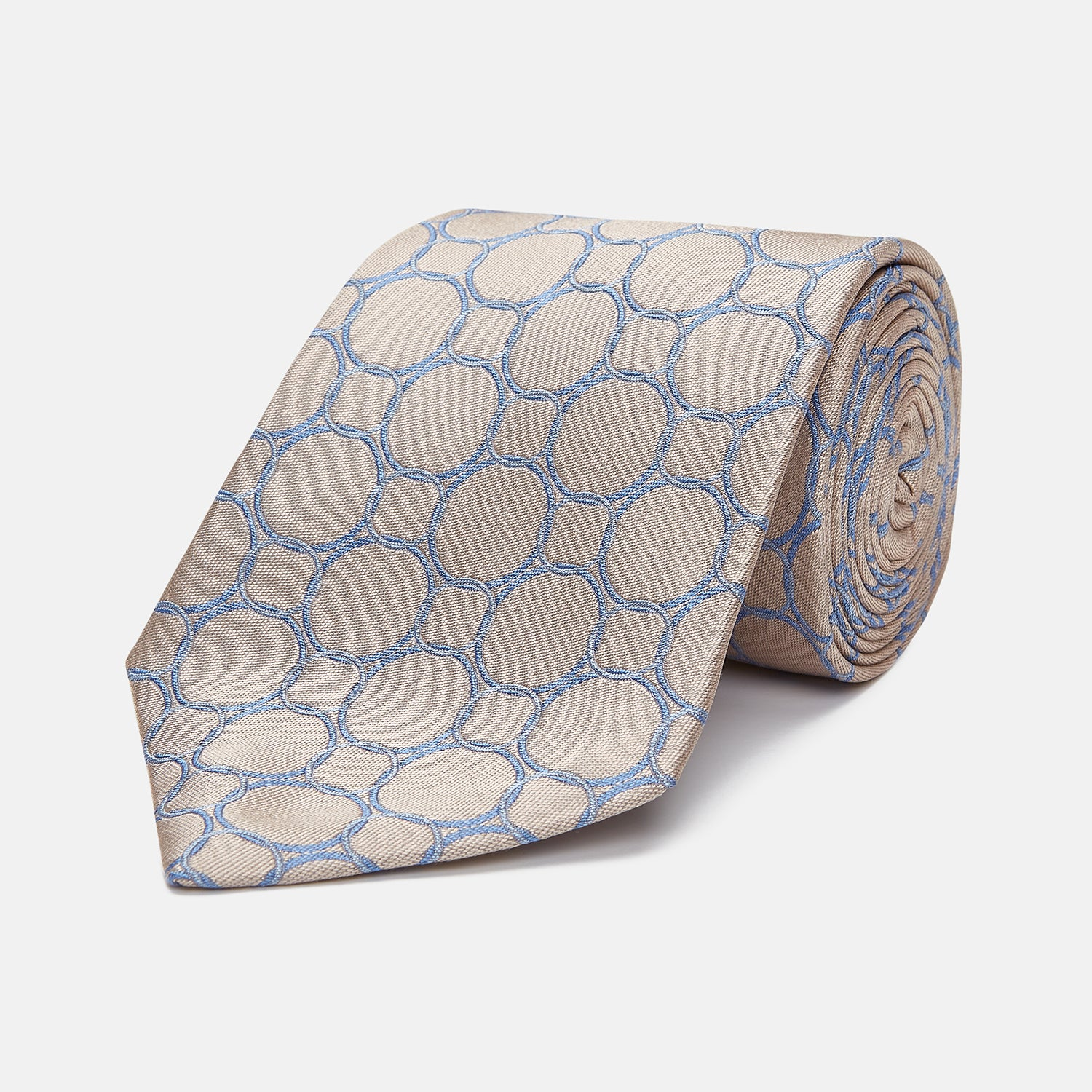 Toffee and Powder Blue Circle Jacquard Silk Tie