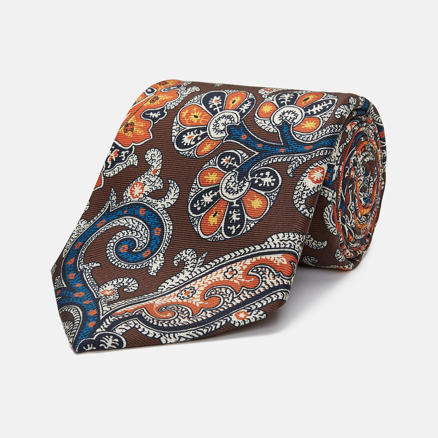 Chocolate and Orange Twisted Paisley Silk Tie