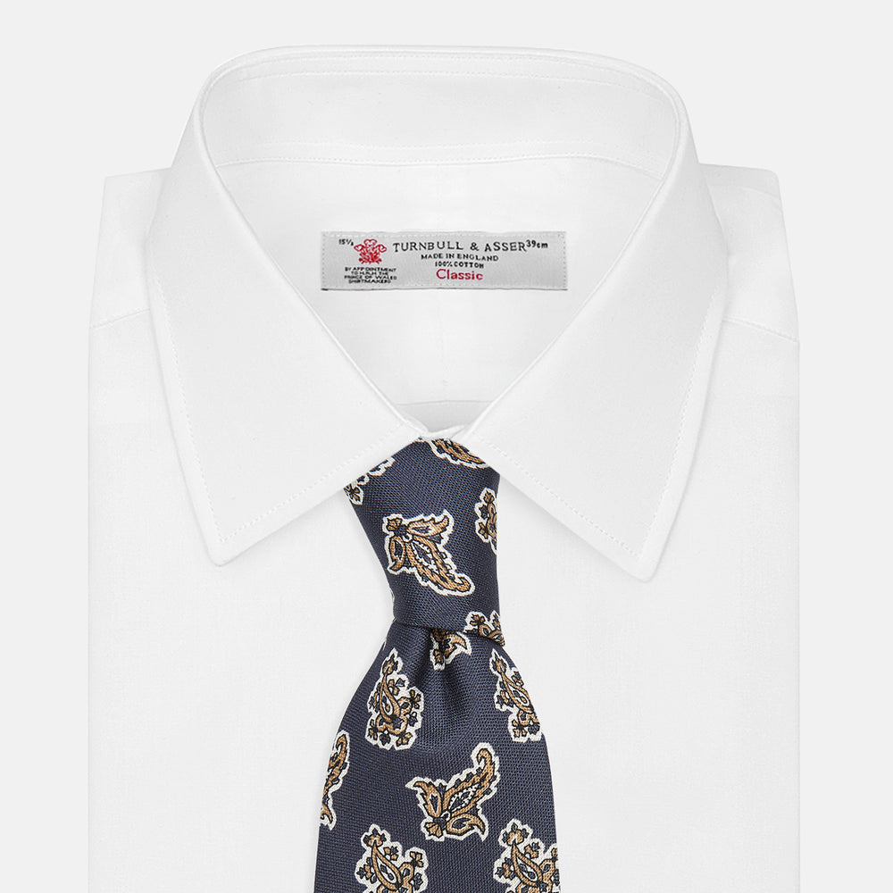 Navy Paisley Floral Cotton Silk Blend Tie