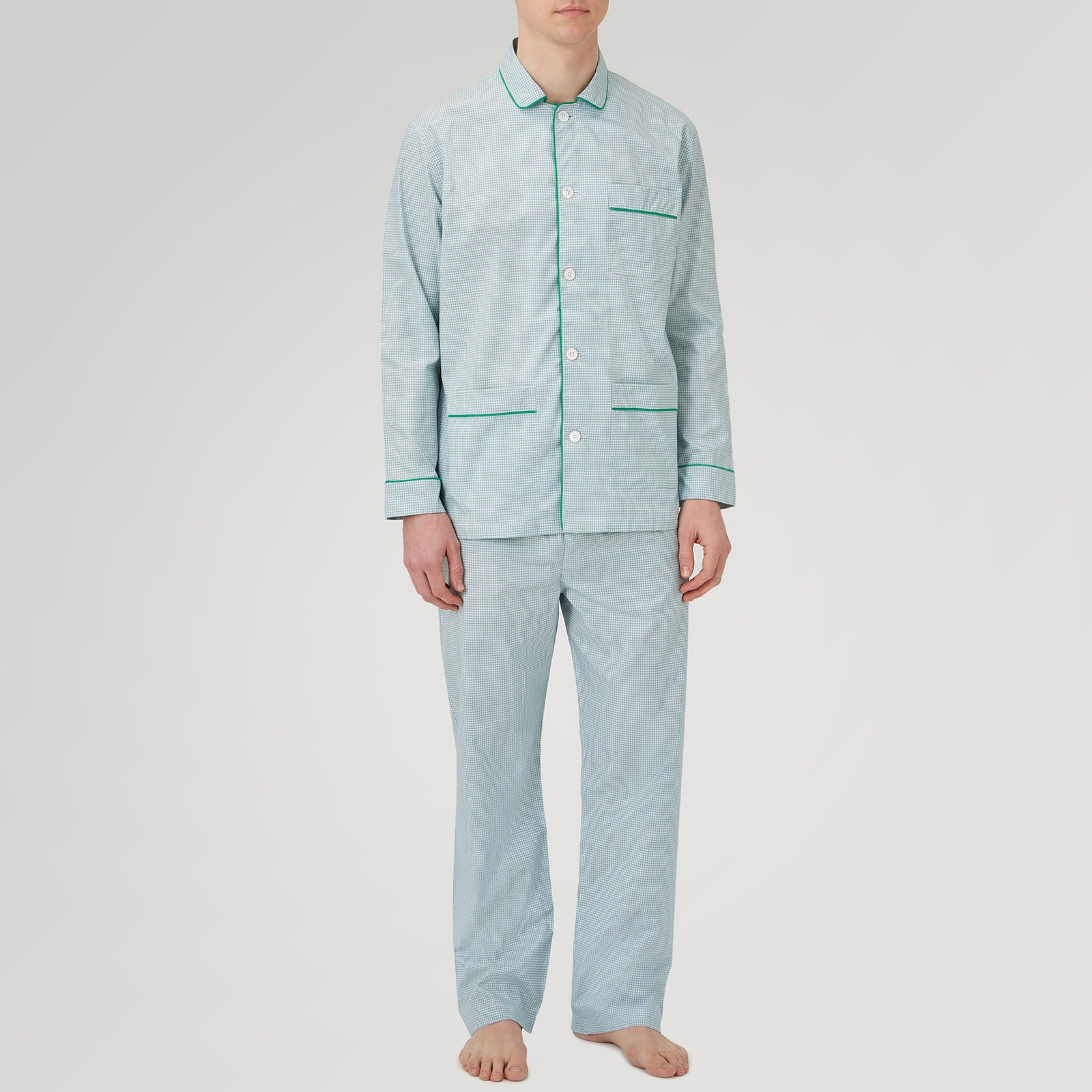 Kelly Green Check Cotton Modern Pyjama Set