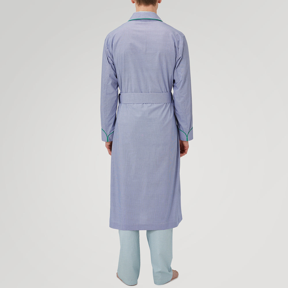 Royal Blue Fine Check Cotton Gown