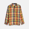 Orange Madras Check Holiday Fit Long Sleeve Linen Shirt with Revere Collar and 1-Button Cuff
