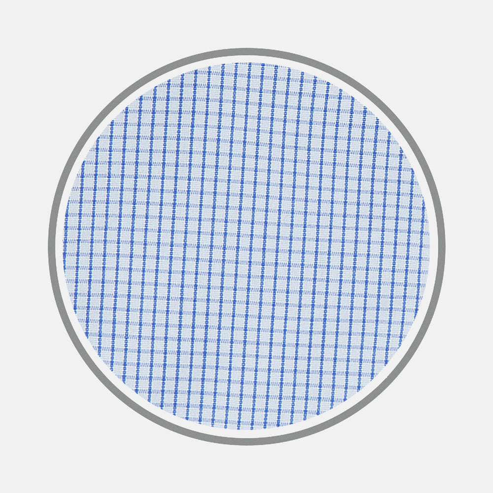 Blue Grid Check Cotton Fabric