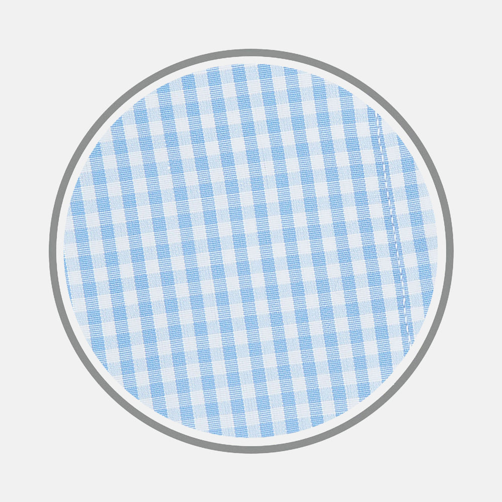 Light Blue Gingham Check Cotton Fabric