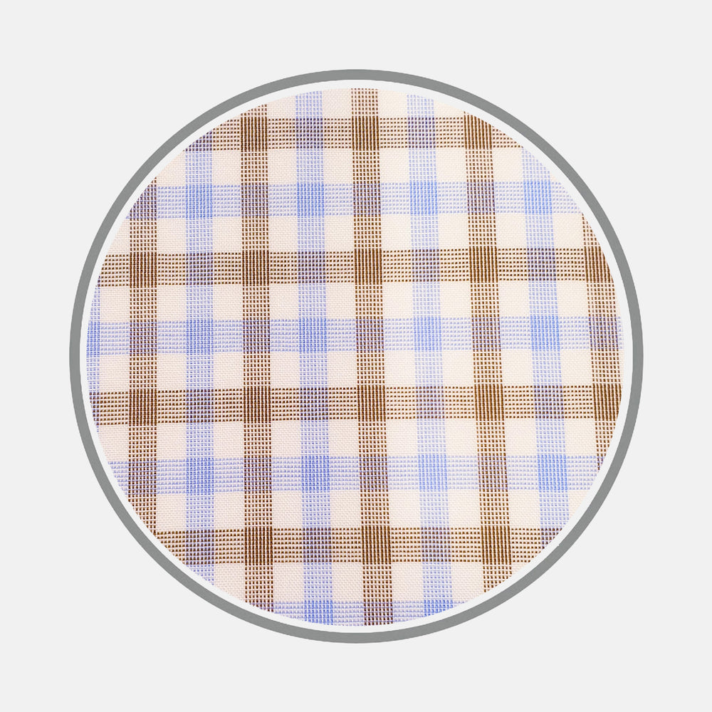 Blue and Brown Multi Check Cotton Fabric