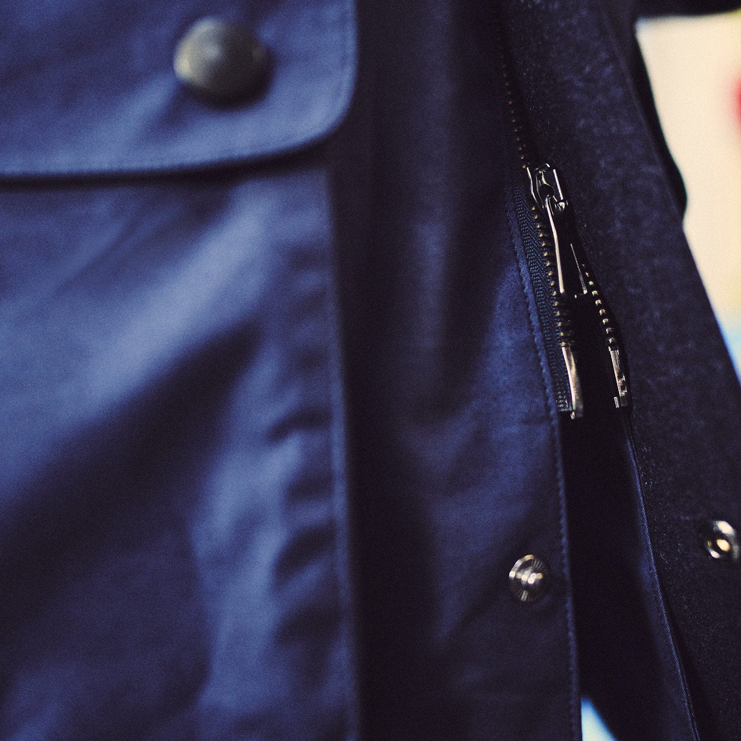 Navy Dry-Waxed Cotton Field Jacket
