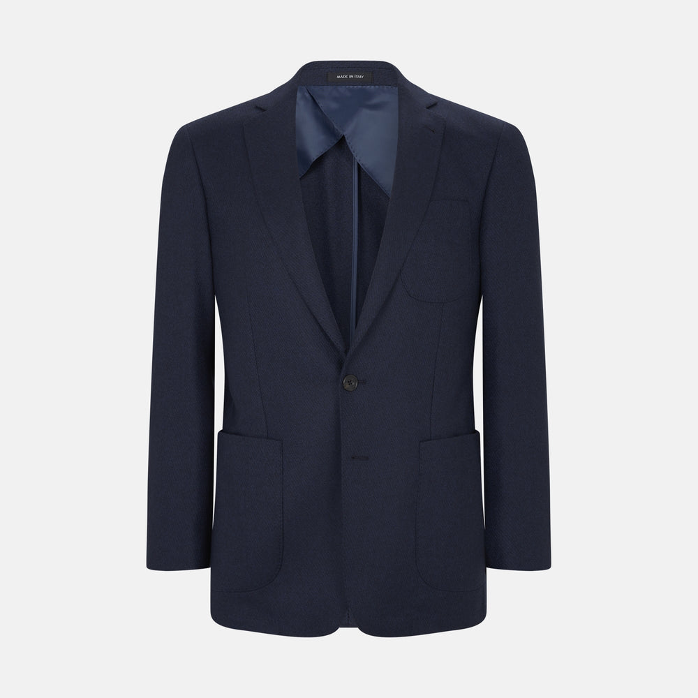 Navy Cashmere Blend Twill Weekend Jacket