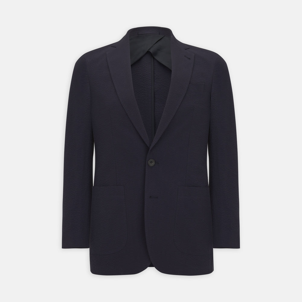 Navy Cotton Seersucker Jacket