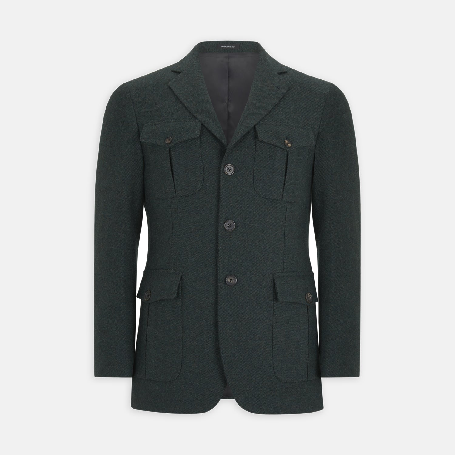 Dark Green Merino Lambswool Traveller Jacket