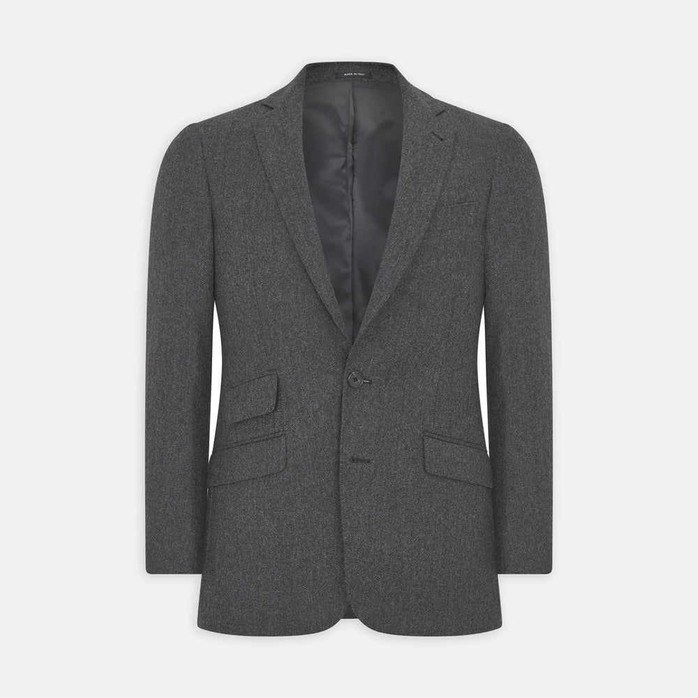 Charcoal Herringbone Cashmere Jacket