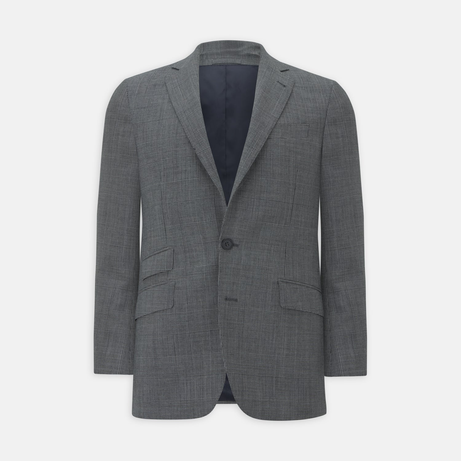 Grey Prince of Wales Check Wool Hopsack Jacket