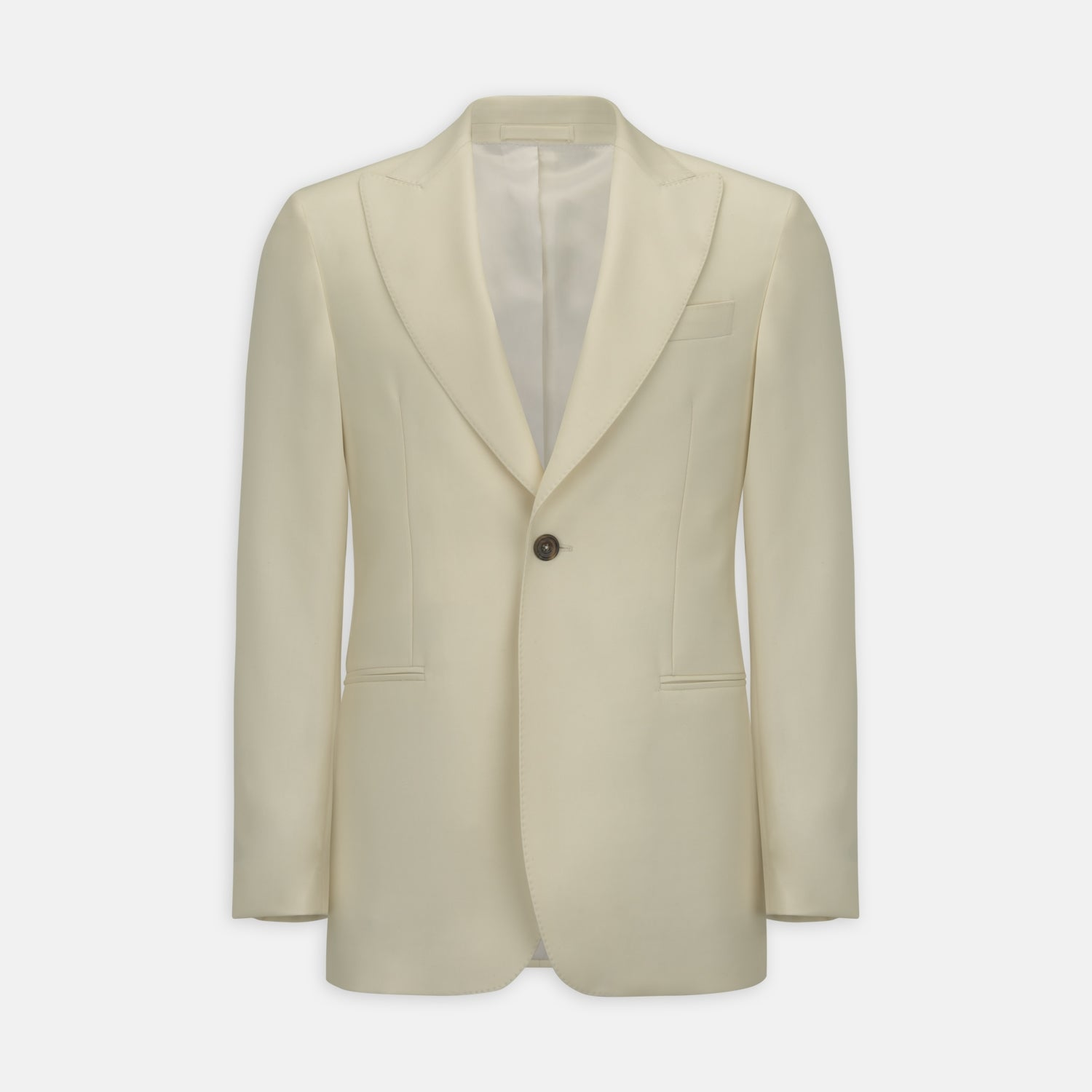 Cream Wool Gabardine Peak Lapel Jacket