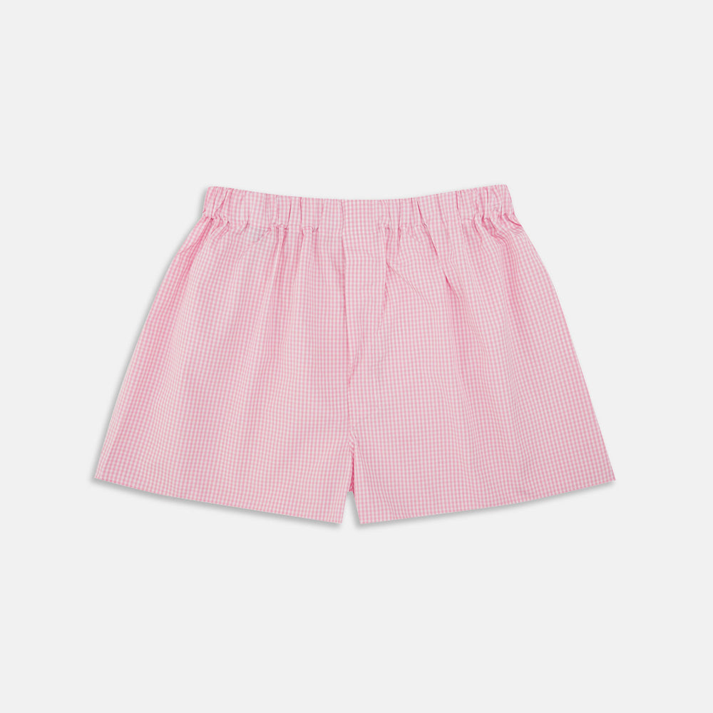 Pink Gingham Cotton Boxer Shorts