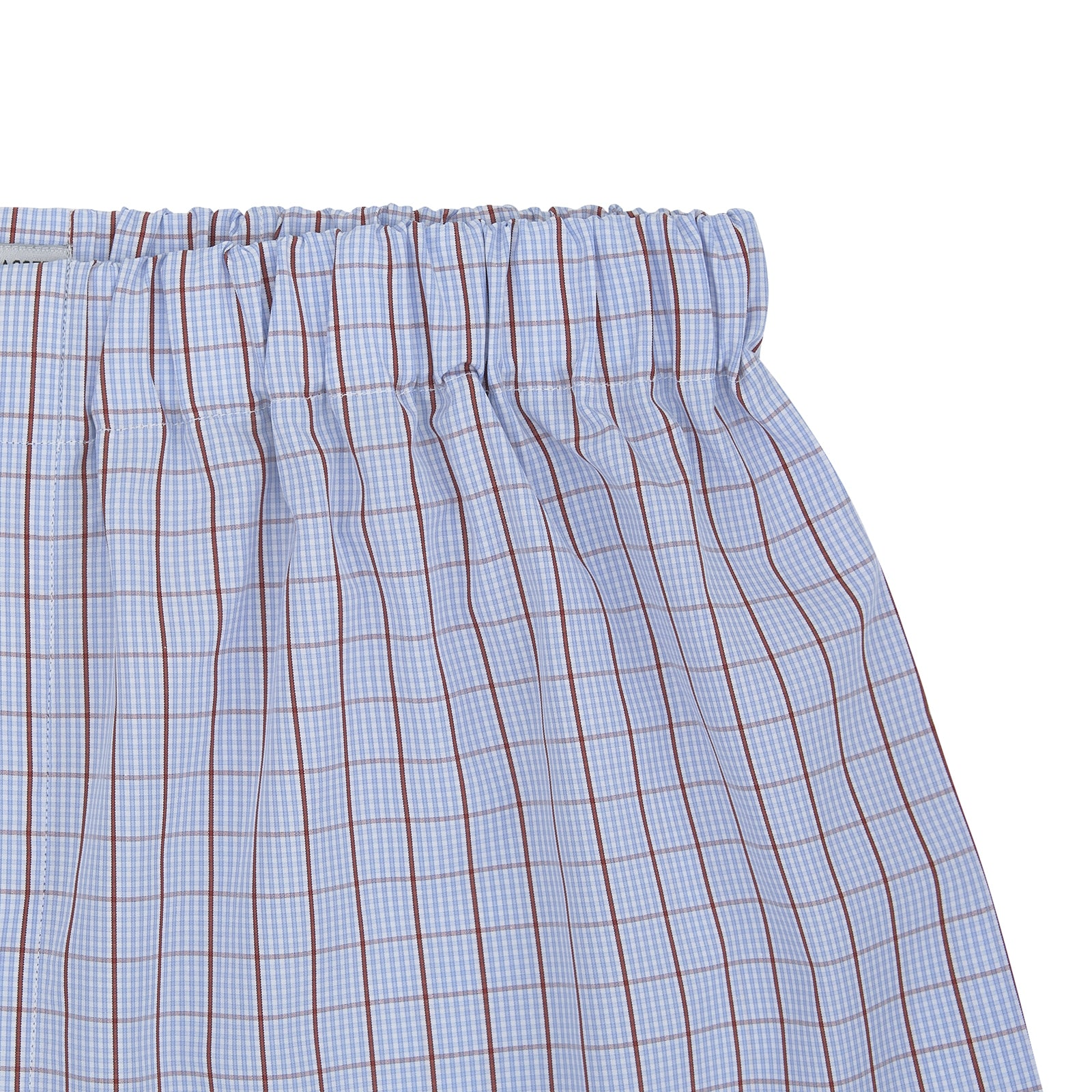 Sky Blue and Red Pin Check Cotton Boxer Shorts