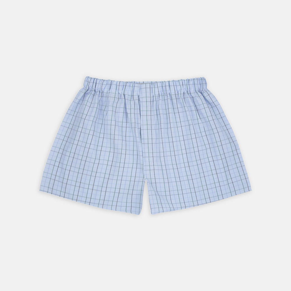Blue and Green Windowpane Check Cotton Boxer Shorts