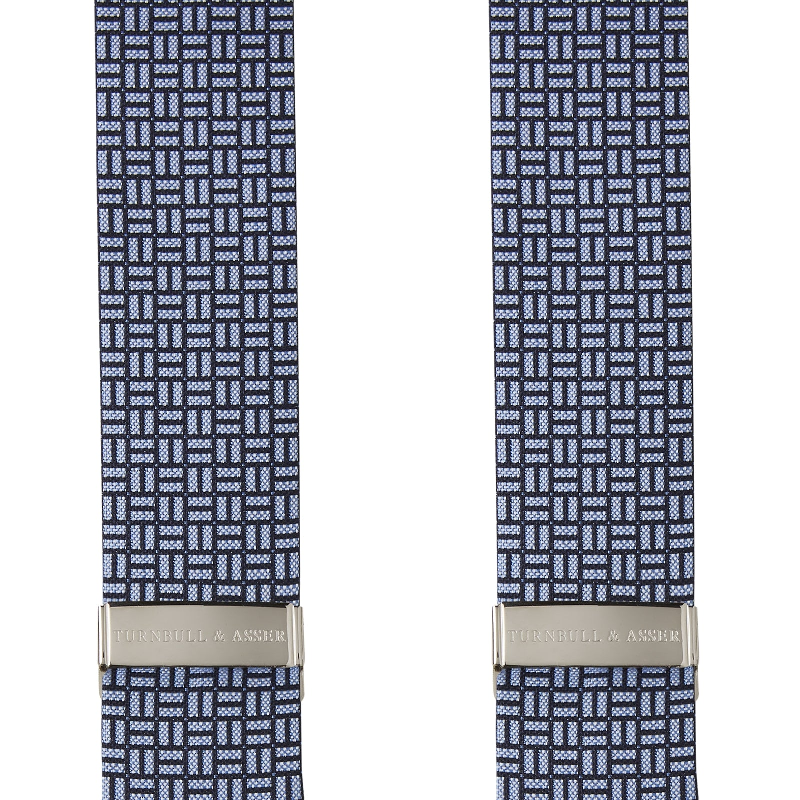Sky Blue and Navy Geometric Adjustable Silk Braces