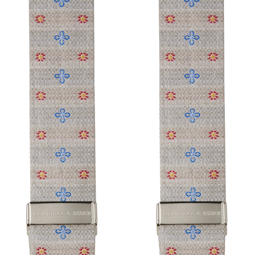 Dove Grey Floral Silk and Linen Adjustable Silk Braces