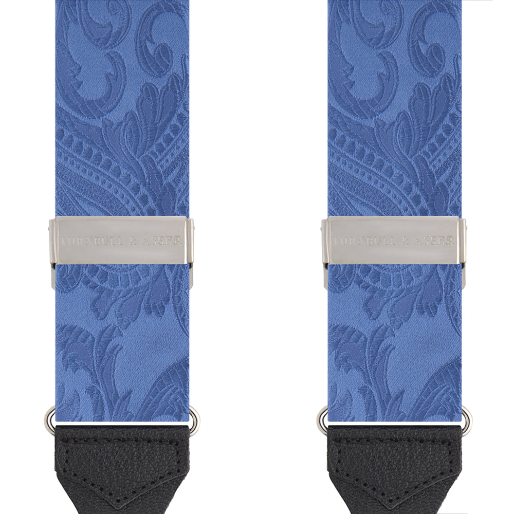 Sky Blue Paisley Adjustable Silk Braces
