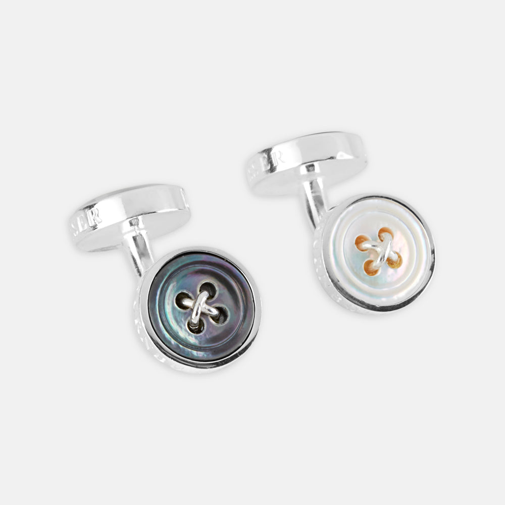 Reversible Sterling Silver Mother-of-Pearl Button Cufflinks