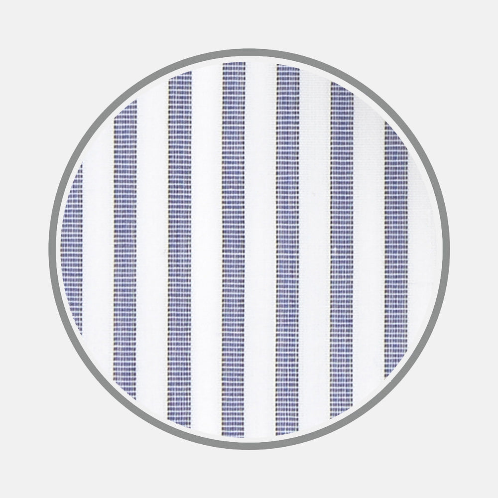 Blue and White Textured Stripe Sea Island Quality Cotton Fabric