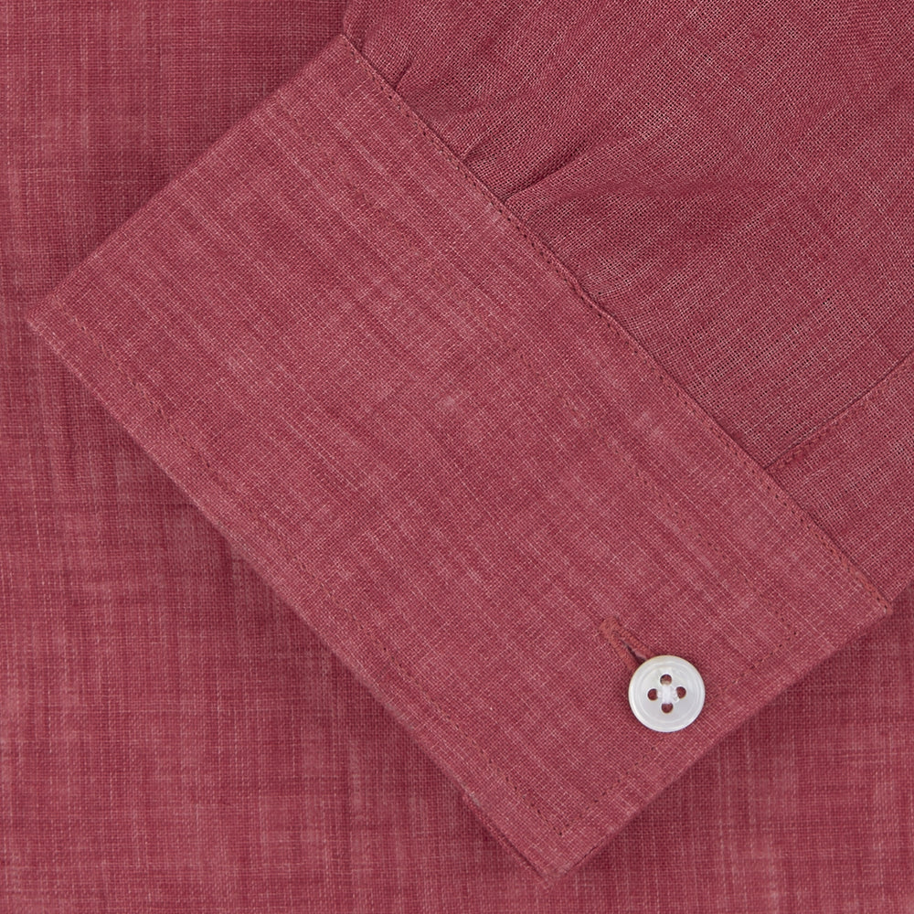 Weekend Fit Red Linen Shirt with Dorset Collar and 1-Button Cuff