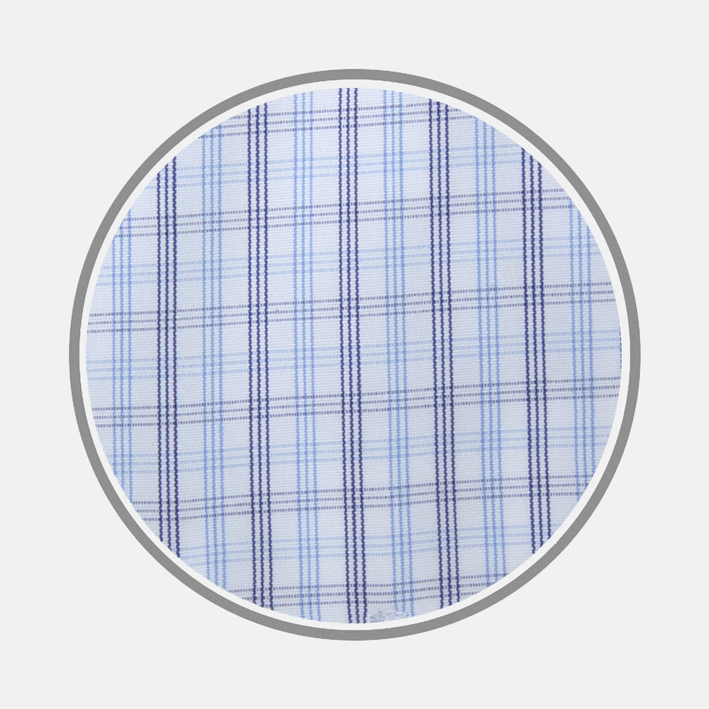 Navy Group Check Cotton Fabric