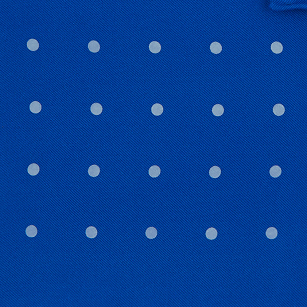 Royal Blue Spot Silk Pocket Square