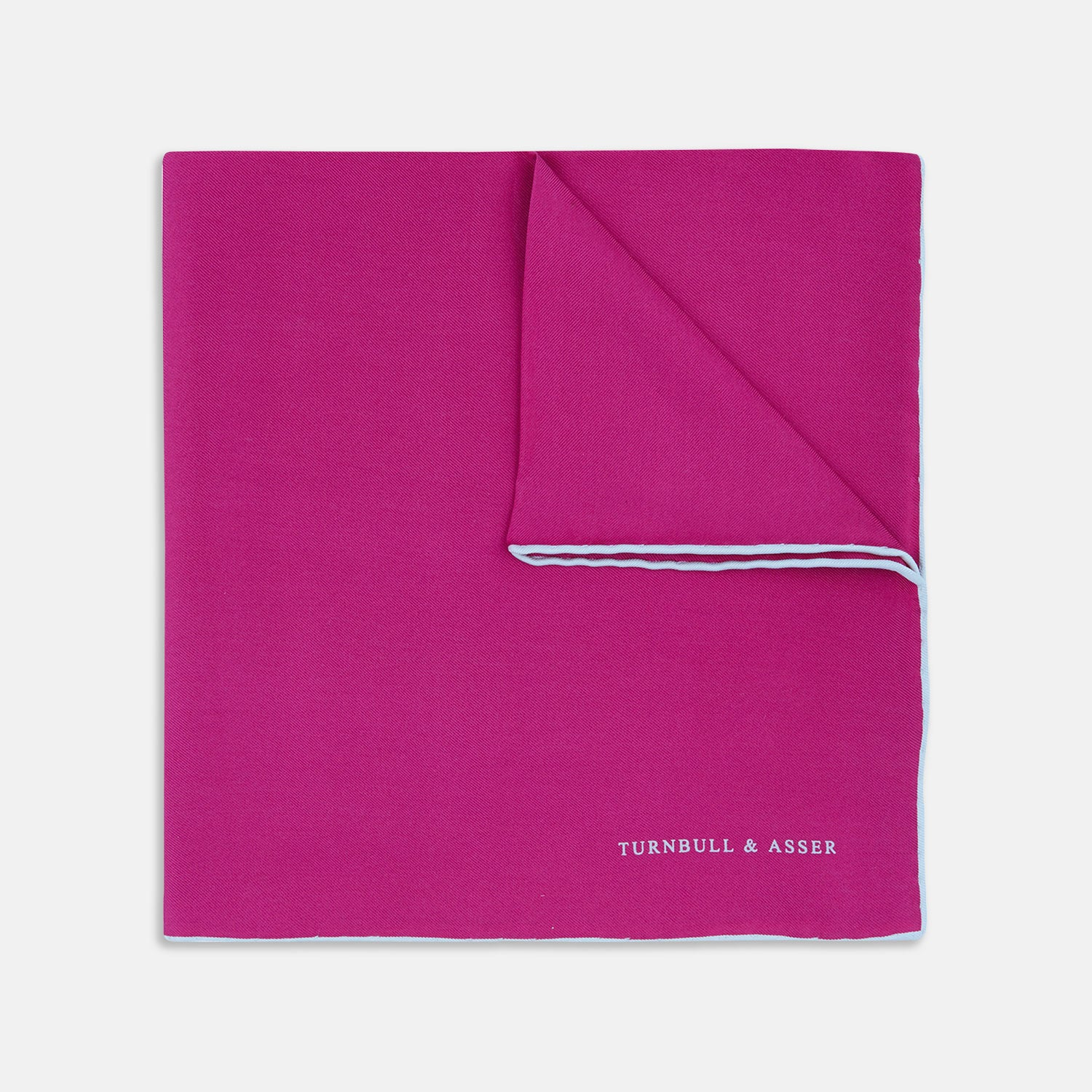 Fuchsia and White Piped Silk Pocket Square
