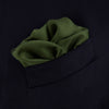 Olive and White Piped Silk Pocket Square