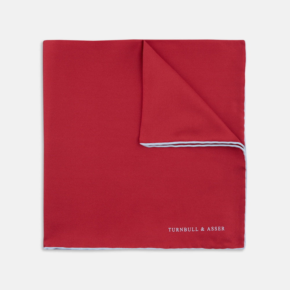 Red and White Piped Silk Pocket Square