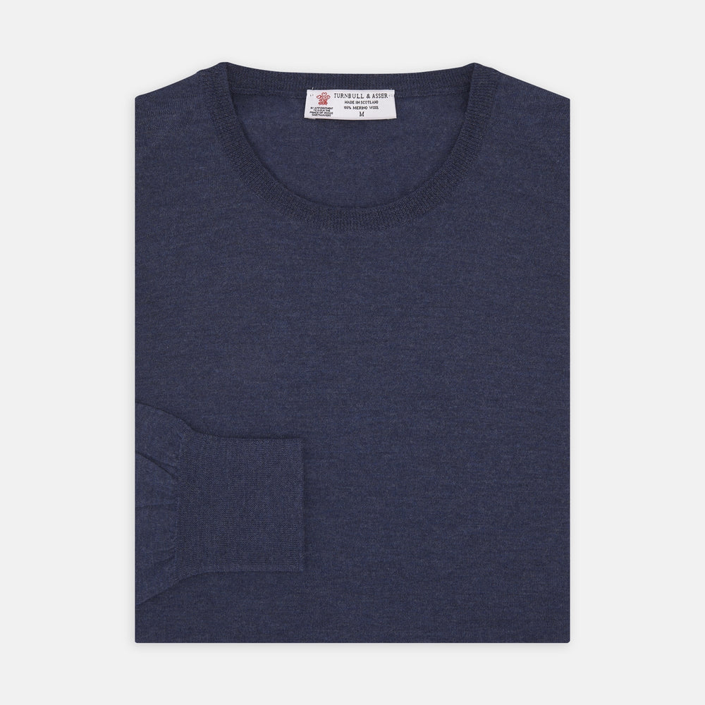 Blue Crew Neck Merino Wool Jumper