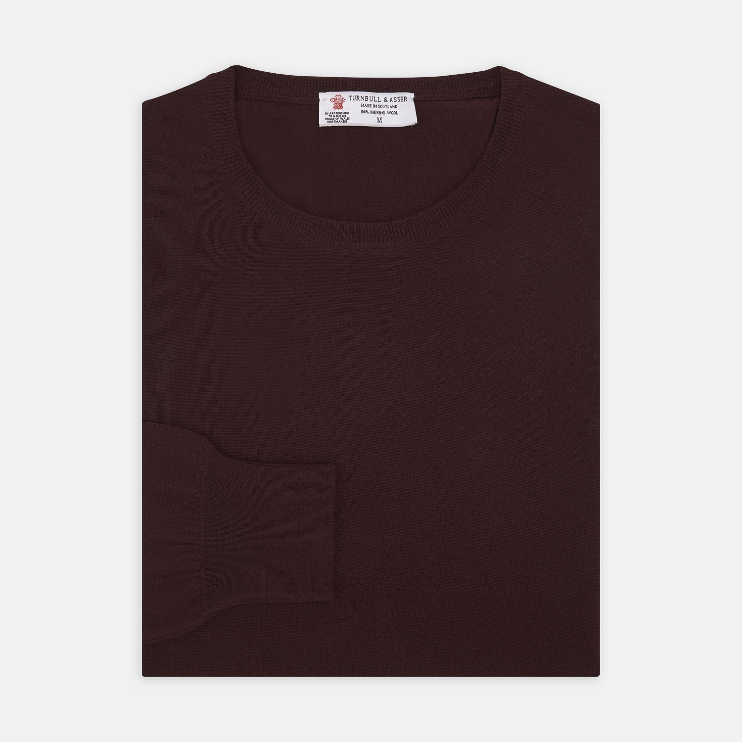 Wine Crew Neck Merino Wool Jumper