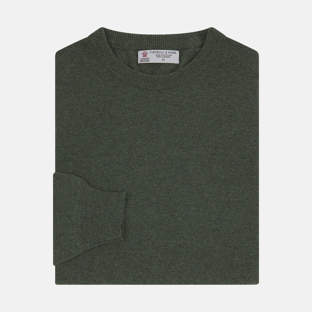 Green Crew Neck Cashmere Jumper