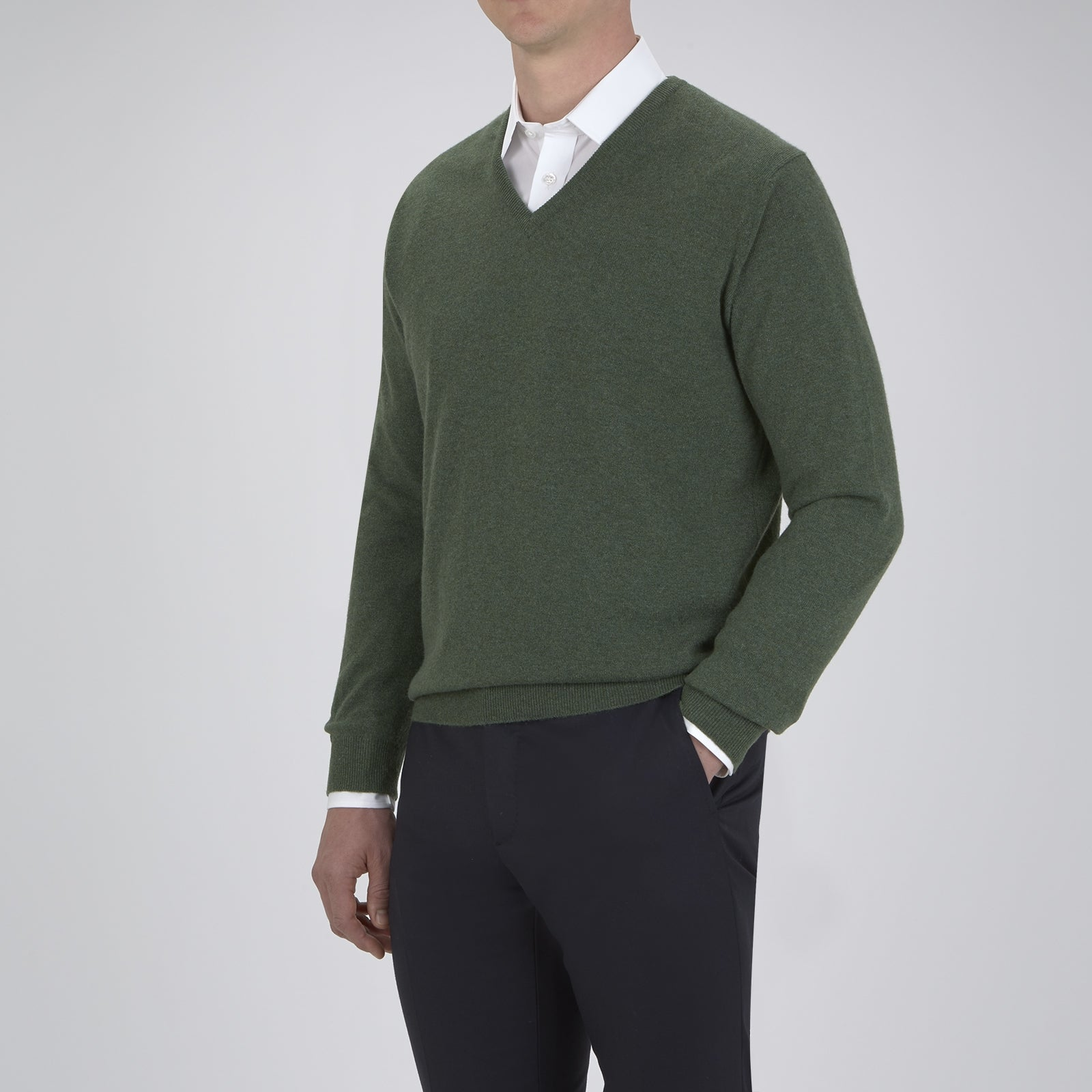 Green V-Neck Cashmere Jumper