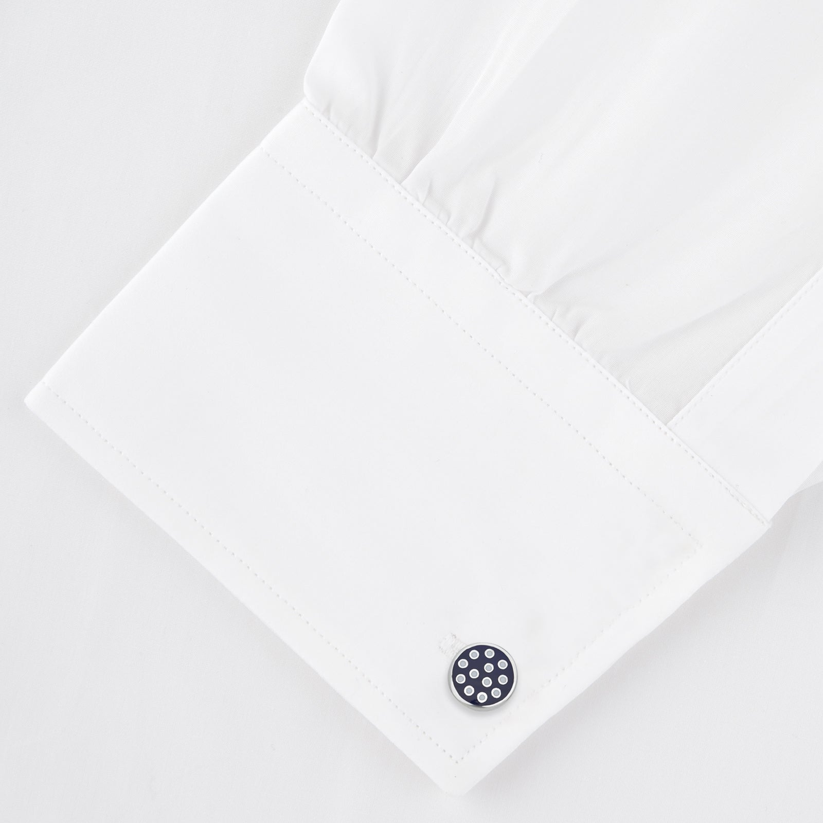 Spotted Navy and White Sterling Silver Enamelled Cufflinks